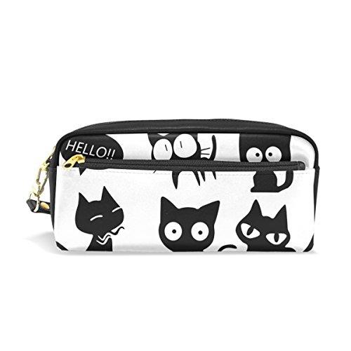 マキク(MAKIKU) ペンケース かわいい 大容量 革 ペンポーチ 筆箱 おしゃれ 高校生 中学生 女の子 スリム 化粧ポーチ 多機能 プレゼント対応 文房具 黒猫 猫柄 可愛い