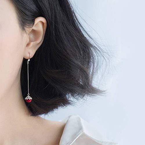 SGP Boucles D'Oreilles en Argent Avec Boucles D'Oreilles en Forme De Diamant Rouge Pour Femme S925...