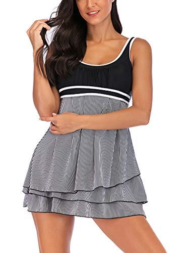 AOQUSSQOA Damen Bauchweg Tankini Große Größe Badeanzug mit Shorts Black Streifen Push up Bademode Figurformend Schwangerschaft Badekleid (Stripe, 5XL)