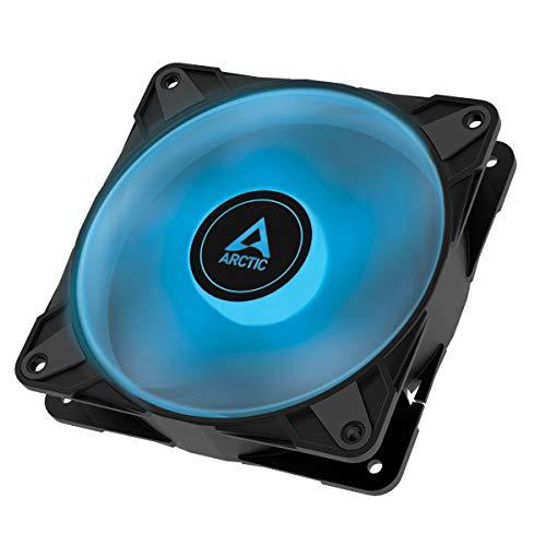 ARCTIC P12 PWM PST RGB 0dB - Ventilador de Caja PWM de 120 mm con presión estática optimizada, semipasivo: 0-2000 RPM, LED RGB de 12V y 4 Pines, Ventilador Singular - Negro