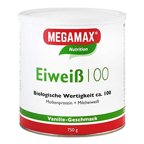 Megamax Eiweiss Vanille 750 Molkenprotein + Milcheiweiß Eiweiß Protein mit Biologischer Wertigkeit ca. 100Für Muskelaufbau und Diaet 400 g | ohne Süßstoff | PROTEINPULVER ideal zum Backen | Low Carb Eiweiß-Shake für Muskelaufbau und Fitness