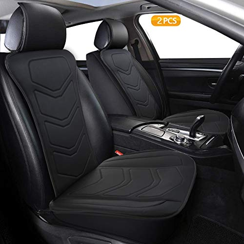 Big Ant 1 Pair Car Seat Covers, Luxury Leather Seat Covers for Cars, Anti-Slip Automotive Seat Covers with Backrest, Front Seat Covers Universal Fit for Most Car Truck Van and SUV (2PC,Black)