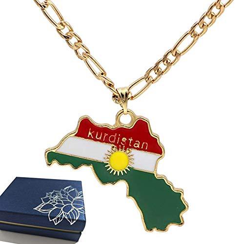 BBYaki Kurdistan Premium Kette Kurd Karte Fahne Flagge Anhänger Halskette 18 K Vergoldet Anhänger Halskette