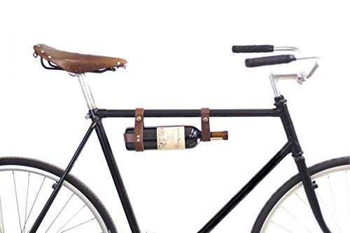 Bicycle Wine Rack Carrier - Bike Bottle Holder - Brown Leather