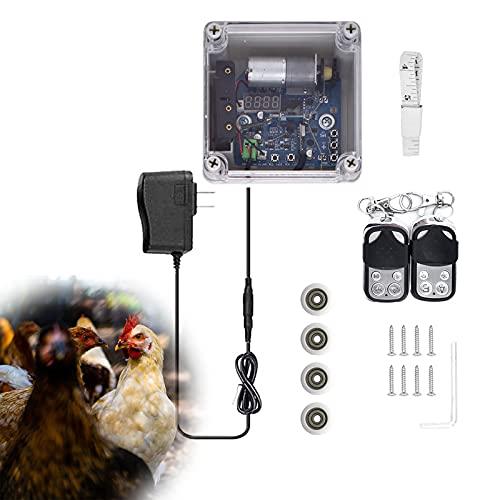 EUNEWR automatique ouvre-porte de poulailler Kit,Ouvre-porte de poulailler avec minuterie et capteur de lumière,porte automatique de poulailler avec 2 télécommandes,type élingue avec 4 roues