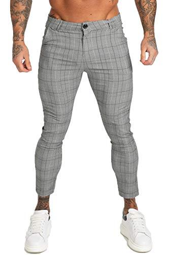 GINGTTO - Pantalón - para Hombre Gris 29 Leg - Grey Plaid 34W