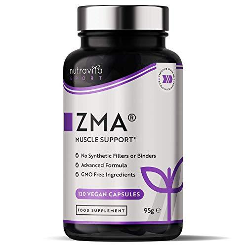 ZMA de alta resistencia - 120 cápsulas veganas - Contribuye a los niveles de testosterona, la función muscular normal y el metabolismo energético - Zinc, magnesio y vitamina B6 - Nutravita
