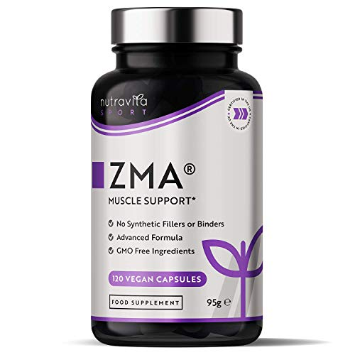 ZMA High Strength - 120 Vegan Capsules - Zinc Magnesium & Vitamin B6 - Contributes to Normal Muscle Function, Testosterone Levels and Energy Yielding Metabolism - Made in The UK by Nutravita