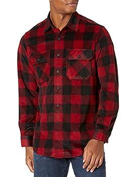 Wrangler mens Long Sleeve Plaid Fleece Jacket Button Down Shirt Red Buffalo Plaid X-Large US