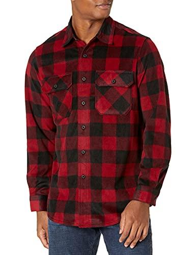 Wrangler mens Long Sleeve Plaid Fleece Jacket Button Down Shirt, Red Buffalo Plaid, X-Large US