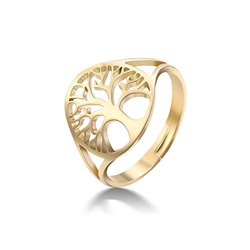 HHW Anillo Ajustable Árbol De La Vida Anillos Vikingos De Acero Inoxidable De Color Dorado Mujeres Y Niñas,Oro