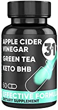Potent Keto BHB Salts + Apple Cider Vinegar RAW ACV + Green Tea Extract Diet 60 Vegan Pills Exogenous Ketones Pure Natural Detox Cleansing Dietary Supplements Capsules - Men Woman