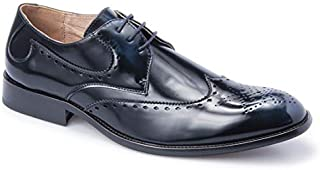 Majestic Collection Men's Shoes Majestic Lace-Up Wingtip Dress Shoe Faux Buffed Leather