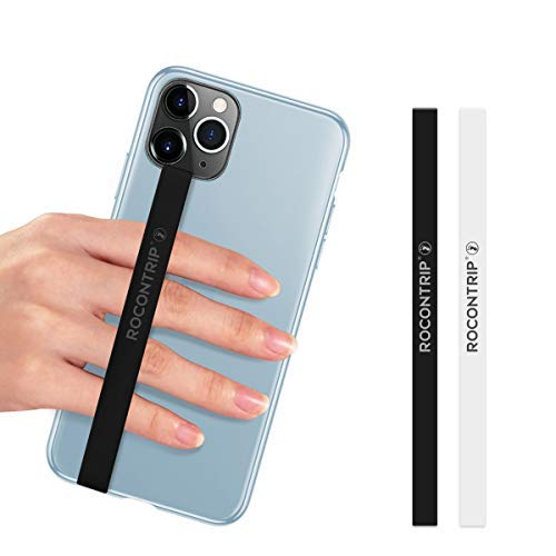 ROCONTRIP Silicone Phone Grip,2 PCS Phone Strap Removable Stretching Finger Strap Reusable Strong Phone Grip Holder for iPhone, Galaxy and Most Smart Phone Case (White+Black)