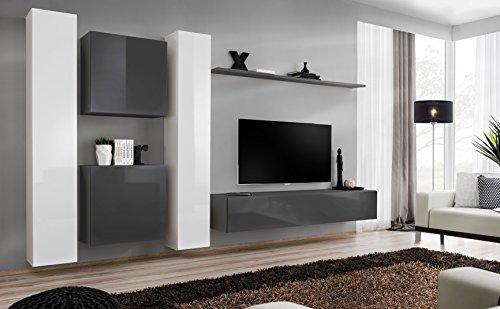 all4all Wohnwand mit Hochglanz TV Board Anbauwand Schrankwand Fernsehwand Wohnzimmerset Lowboard Kleine Wohnwand Fernsehschrank TV Lowboard Weiß Schwarz Grau Wotan SW 6 (Grau - Weiß - Etna)