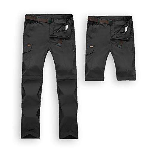 JIANYE Pantaloni Trekking Uomo Donna Zip off Rimovibili Pantaloni Montagna Impermeabile Pantaloni Outdoor con Cintura Nero 3XL