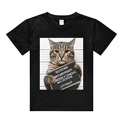T-Shirt Black Crewneck Cute Cat Funny Prisonr Mugshot Cotton Girls Boy Teenagers