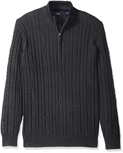IZOD Men's Premium Essentials Solid Quarter Zip 7 Gauge Cable Knit Sweater, dark Asphault, XX-Large