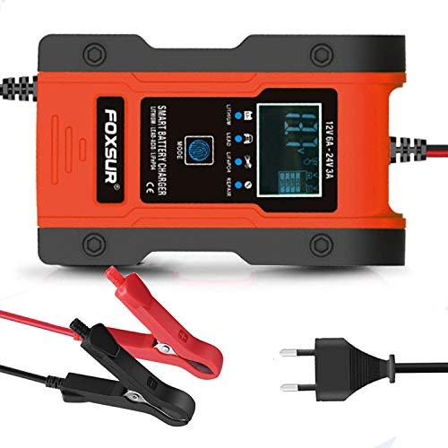 Ohmotor Cargador Baterias Coches con Pantalla LCD,12V/24V Mantenimiento Inteligente,Múltiples Proteccion para Automóvile,Motocicleta,ATV,RV,Powersports,para de Baterías de Litio/Piombo-ácido