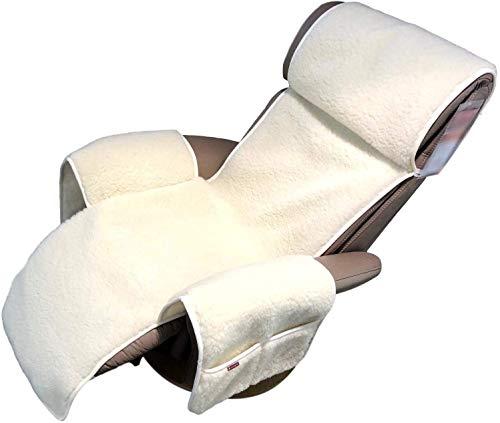 Sesselschoner für Relaxsessel Extrabreit, 100% Merinowolle, breite 60cm (Wollweiß)