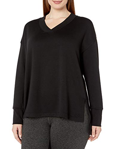 Marc New York Performance Women's Plus Size Fabulous Fleece v-Neck Pullover with Side Vents, Black, 2X