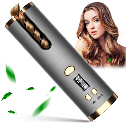 Automatic Curling Iron, Cordless Hair Curling Wand, Intelligent Anti-tangle Hair Curler with Anti-static Infrared & Ionic, MCH Fast Heating & Salon High Heat 390 ℉ with 6 Temp, Rechargeable & Portable