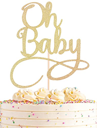 AHAORAY Oh Baby Cake Topper - Premium Gold Baby Birthday Party Cake...