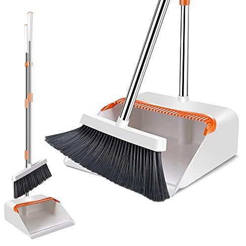 MASTERTOP Besen und Kehrschaufel Set, Kehrset mit 130cm Langem Stiel, Kehrbesen und Dustpan für die Küche Zuhause Büro Fußboden Reinigung