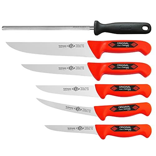 6 Teilig Eikaso® Solingen® Schlachtermesser Metzgermesser Ausbeinmesser Butcher Knife (3381 Rot)