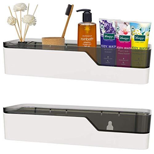 BDwantan Creproly - Organizador de plástico para ducha, sin perforaciones, organizador de pared, resistente al agua, 2 unidades