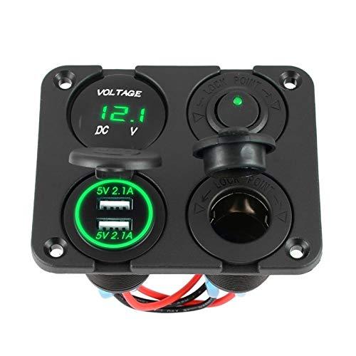 Estilismo de automóviles y accesorios corporales Nuevo cargador de automóviles de puertos USB doble + Voltímetro LED + Toma de corriente de 12-24V + interruptor Único 4 en 1 Coche Marino LED del inter