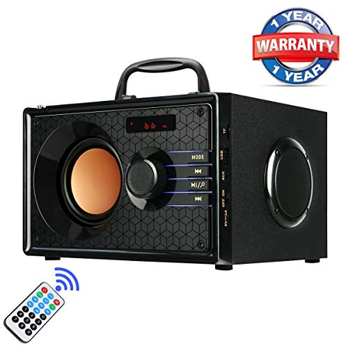 Portable Wireless Bluetooth Speakers with FM Radio Subwoofer MP3 Player Remote Control AUX, Rich Bass Party Speaker, Clear Stereo Sound Outdoor Home Desktop Speakers for Phone PC Computer TV(Black)