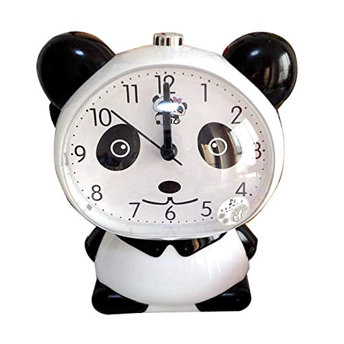 hehuanxiao Reloj Creativo Lindo Panda Mute Alarm Clock    Night llght Cartoon Talking Table Clock para niño Estudiante