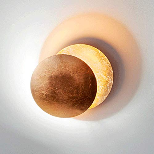 Mkjbd Wandlantaarn Tuin Lamp Wandlamp Wandlamp Golden Eclipse Postmodern Minimalistische Wandlampen Creatieve Gouden folie Aisle Wandlamp Woonkamer Villa Nordic Lampen Nachtlampje Diameter 25