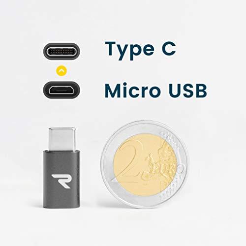 RAMPOW USB C Adapter, USB Typ C Adapter - USB C auf Micro USB Adapter - 56K Widerstand USB C zu Micro USB Adapter Kompatibel für OnePlus 2/3, Galaxy Note 8, Sony Xperia XZ und Mehr - 2 Stücke - Grau
