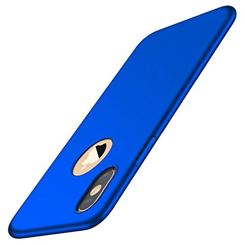 Cover iPhone X, Custodia Ultra Sottile Anti-Graffio e Resistente alle Im pronte Digitali Caso della Copertura Protettiva in Plastica Difficile per iPhone X (Blu)