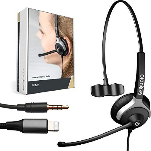 GEQUDIO Headset mit 3,5mm Klinke und Lightning-Adapter kompatibel für iPhone -12-11 -X -XS -8-7 -SE (Pro/Max) mit iOS - Kopfhörer & Mikrofon mit Ersatz Polster - besonders leicht 60g