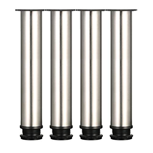 Drenky 4 Stück verstellbare Beine 300mm Höhe Kabinettbeine verdicken Tischbeine Möbelbeine, Gebürsteter Edelstahl, Einstellbare Höhe 0-15 mm Kommen Sie mit Edelstahlschrauben