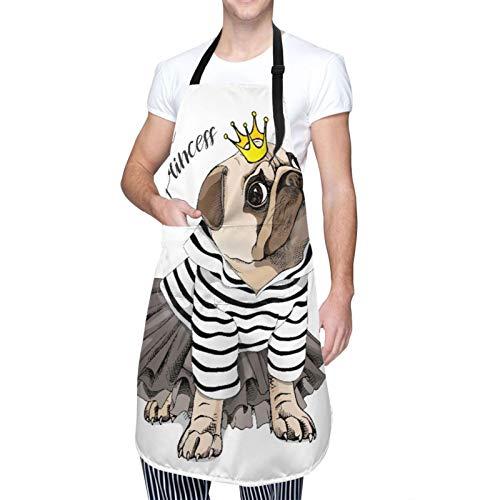Ajustable Colgante de Cuello Personalizado Delantal Impermeable,Perro Pug con un cárdigan a rayas, una falda de tutú negra y una corona de princesa dorada.,Babero de Cocina Vestido con 2 Bolsillos