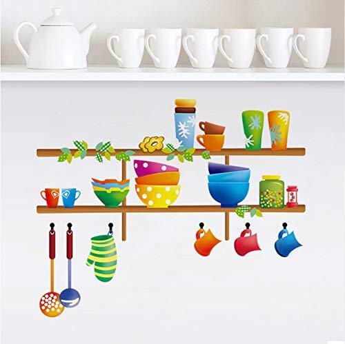 Kreative Küche Regale Wandaufkleber Cartoon Schüssel Kürbis Schöpfkelle Scoop Geschirr Wandtattoo für Küche Raum Esszimmer Dekor