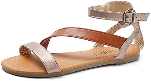 SANDALUP Flat Sandals with Oblique Band Ankle Strap for Women NudeBrownNude 09