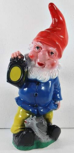 OMÜ Otto Müller Gartenzwerg Figur Zwerg mit Laterne H 34 cm stehend Gartenfigur aus Kunststoff