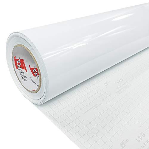 DecoMeister Klebefolie Deko-Folie Selbstklebefolie Selbstklebende Möbelfolie Einfarbig Einheitliche Farbe Fertigrolle 100x200 cm Weiß Hochglanz Glanz Glänzend