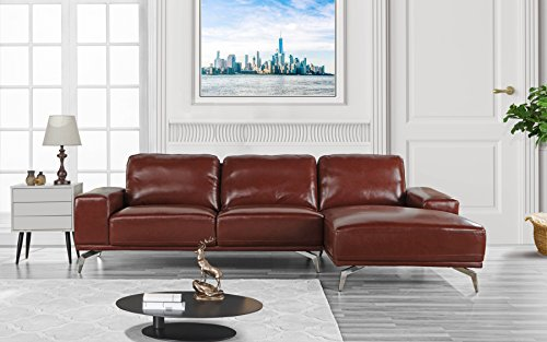 Modern Real Leather Sectional Sofa, L-Shape Couch w/Chaise on Right (Light Brown)