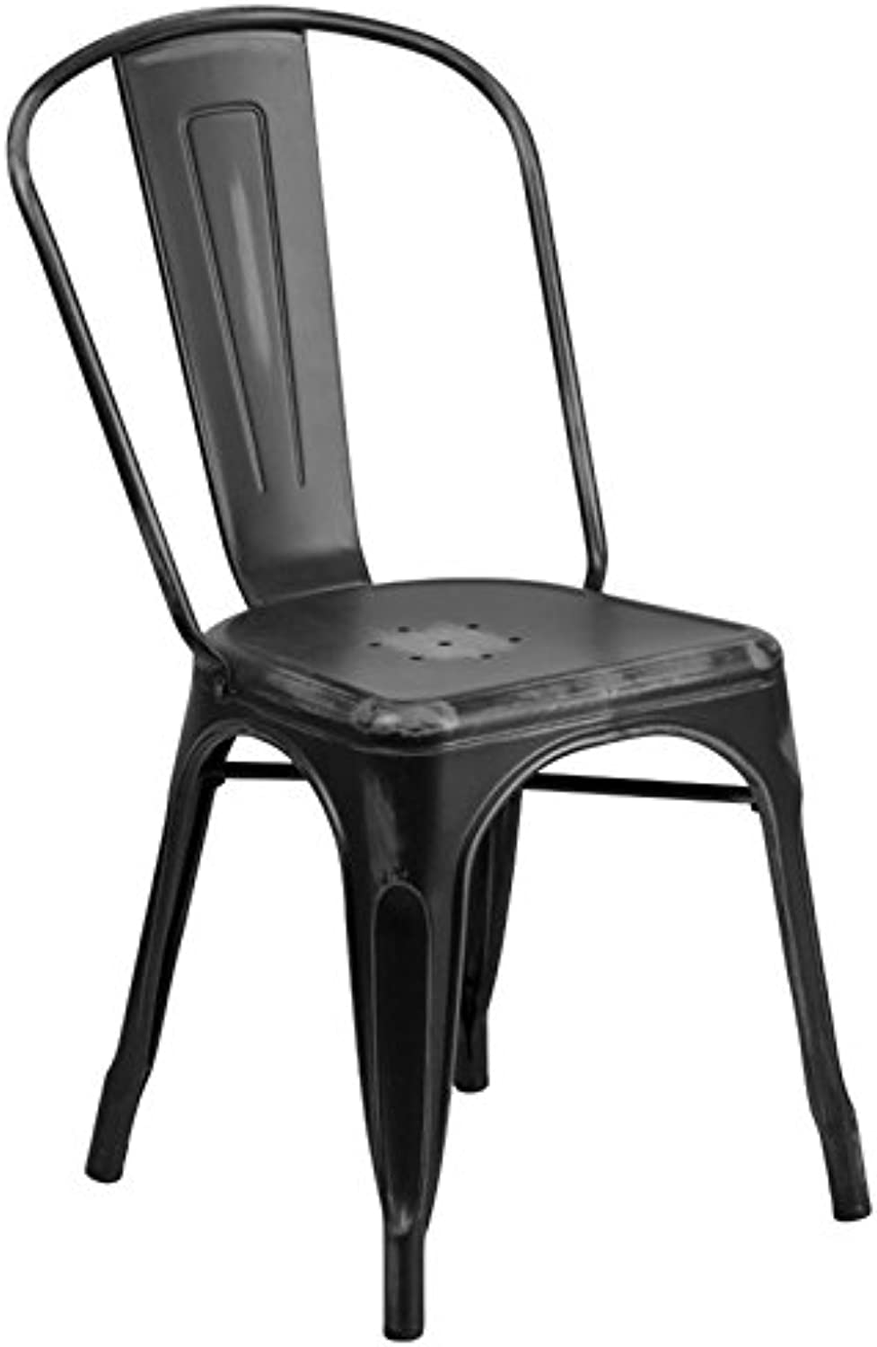 Bowery Hill Metal Dining Chair in Distressed Black