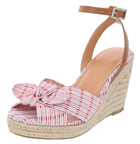 Nautica Women's Curia Espadrille Wedge Sandals with Stripe Bow-Soft Red-8