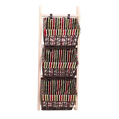 HHTX Cesta de Almacenamiento Cestas de Estante para Colgar en la Pared Bastidor de Bastidor diverso de Madera Cestas de ratán Estante de Productos básicos para Sala de Estar (tamaño: 4 Niveles) /