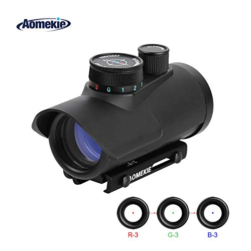 Aomekie Red Dot Sight Airsoft Scope Reflex Sight 3 Brightness Setting with Fiber Optic Sight 20mm/11mm Weaver Picatinny Mount Rails
