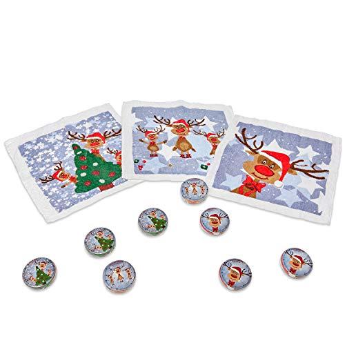 Bada Bing Handtuch 24er Set - Einzigartiges magisches Handtuch - 100 % Baumwolle - Zaubertuch - Weihnachtshandtuch - Rentier Rudolph - Perfektes Geschenk - Adventskalender - 30 x 30 cm