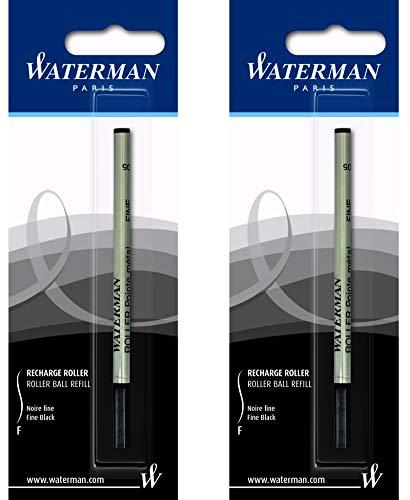 Waterman - 2 ricariche per roller, taglia fine, colore: Nero